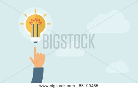 The hand pointing to the bulb. Idea concept.  Vector flat design illustration. Horizontal layout with a text space in a right.