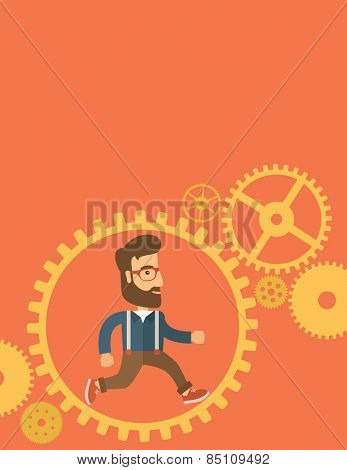 The man with a beard is running inside the gear. Business in action concept. Vector flat design Illustration. Vertical layout with a text space in a top.