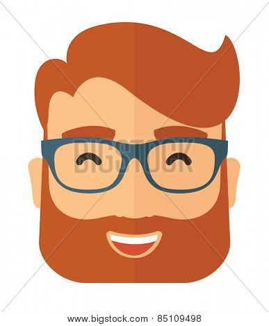 The hipster with a beard in glasses. Avatar isolated on white. Vector flat design illustration.