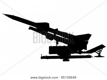 Missile anti-aircraft gun on a white background