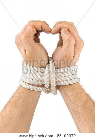 Bound hands and heart isolated on white background