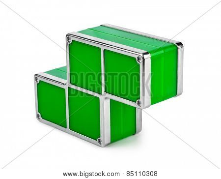 Tetris toy blocks isolated on white background