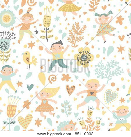 Funny childish seamless pattern in light pastel colors. Boys and girls playing in flowers, birds and hearts in vector
