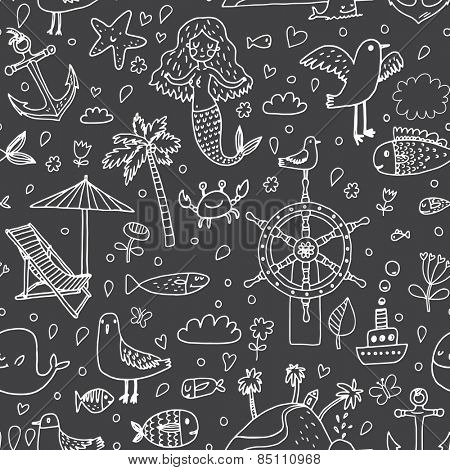 Sweet seamless made of sea concept elements: palm, mermaid, fish, seagull, steering wheel, crab, anchor, chair, ship, starfish and others in vector
