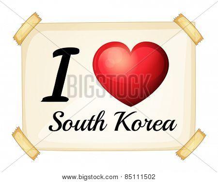 I love South Korea banner on the wall
