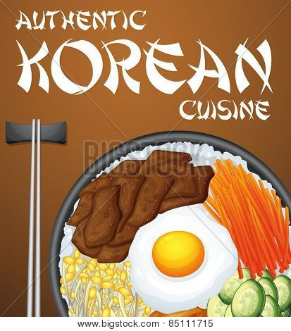 Authentic Korean dish and chopsticks