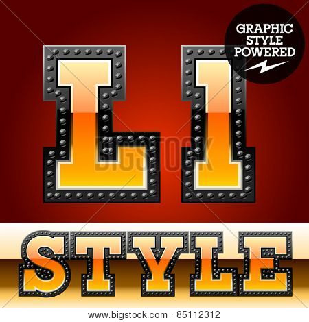 Vector set of industrial style orange font with black rivet border. Letter L
