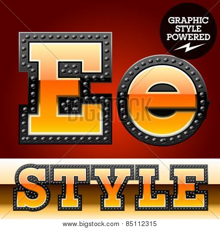 Vector set of industrial style orange font with black rivet border. Letter E