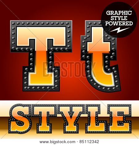 Vector set of industrial style orange font with black rivet border. Letter T