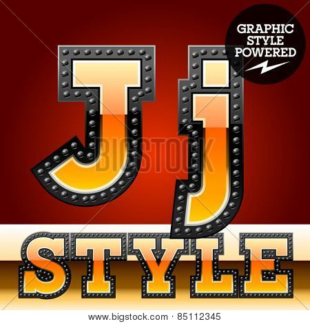 Vector set of industrial style orange font with black rivet border. Letter J