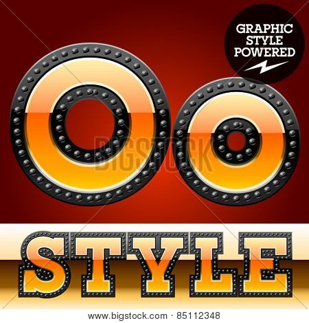 Vector set of industrial style orange font with black rivet border. Letter O