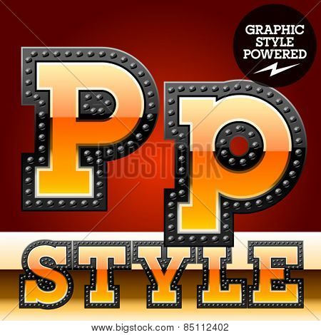 Vector set of industrial style orange font with black rivet border. Letter P