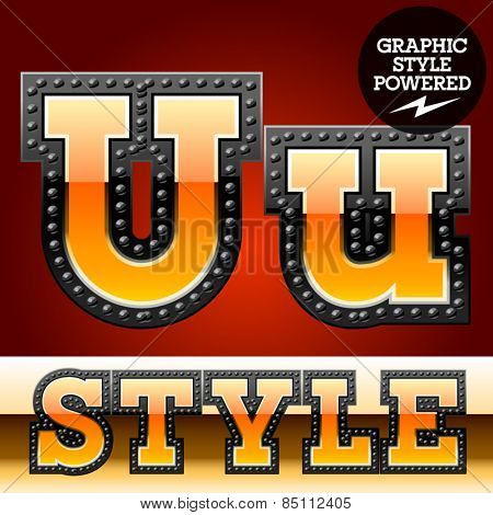 Vector set of industrial style orange font with black rivet border. Letter U
