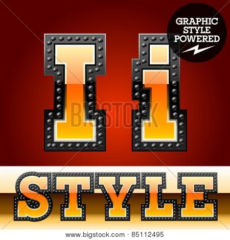 Vector set of industrial style orange font with black rivet border. Letter I