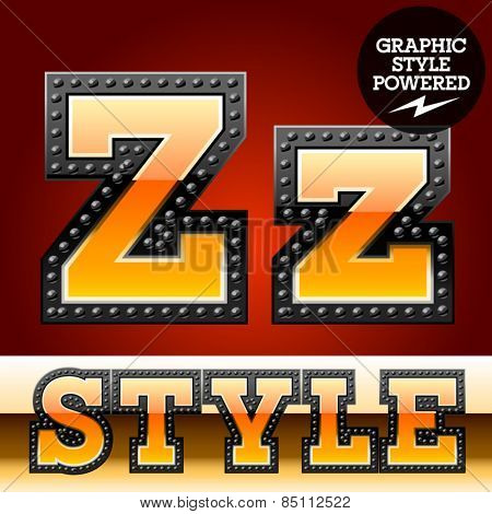 Vector set of industrial style orange font with black rivet border. Letter Z