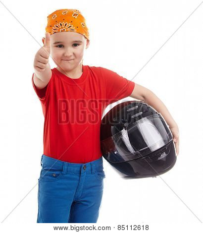 boy with a motorcycle helmet