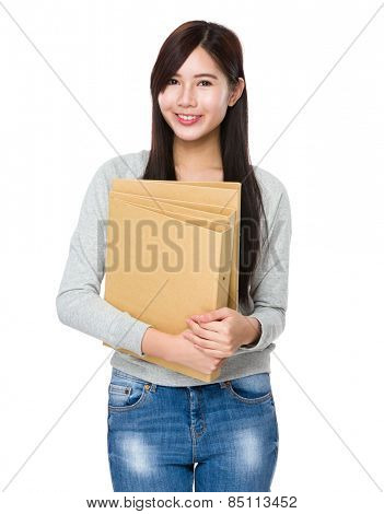 Asian woman hold folder
