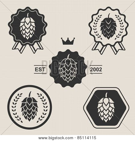 Hop craft beer sign symbol label element