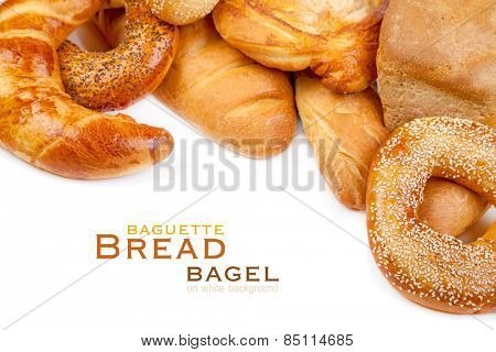 Bread, loaf, baguette, bagel on a white background