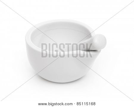 white mortar for food isolated on a white background