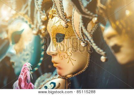 Venetian masks on the marke in Venice, Italy