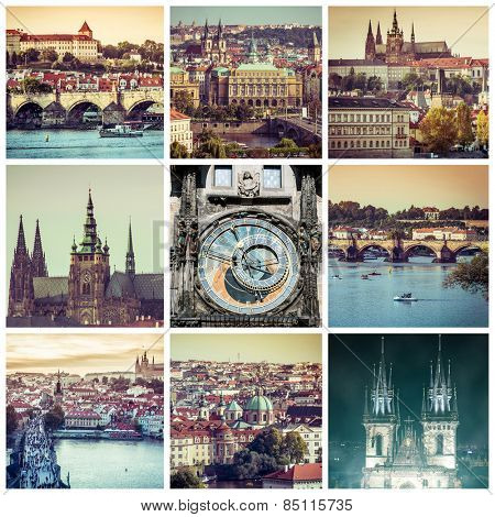 collage of sights and beautiful views of Prague, Czech Republic