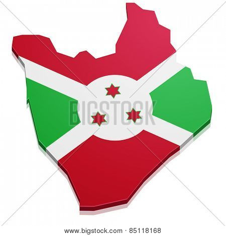 detailed illustration of a map of Burundi with flag, eps10 vector
