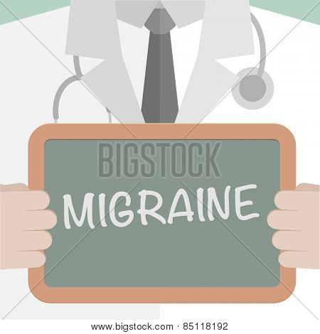 minimalistic illustration of a doctor holding a blackboard with Migraine text, eps10 vector