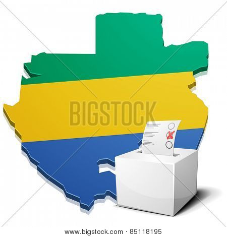 detailed illustration of a ballot box in front of a map of Gabon, eps10 vector