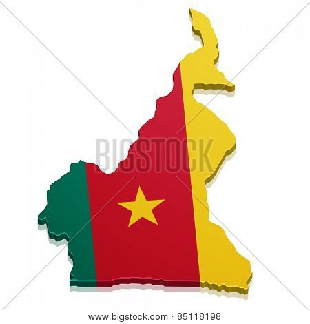detailed illustration of a map of Cameroon with flag, eps10 vector