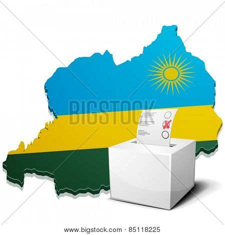 detailed illustration of a ballot box in front of a map of Rwanda, eps10 vector