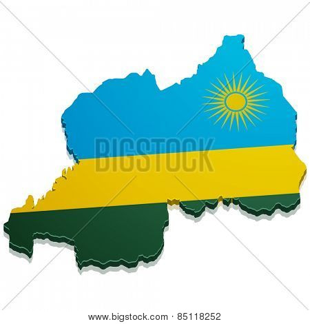 detailed illustration of a map of Rwanda with flag, eps10 vector