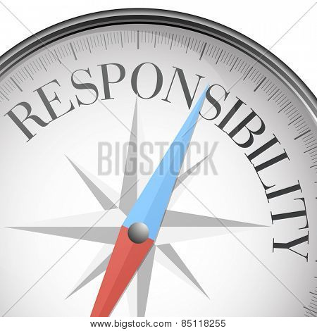 detailed illustration of a compass with responsibility text, eps10 vector