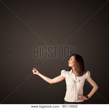 Businesswoman making gestures with her arms