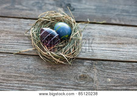 Easter Decoration - Glass Eggs In A Nest On Table