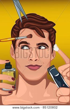 Man Applying Various Beauty Products To Face