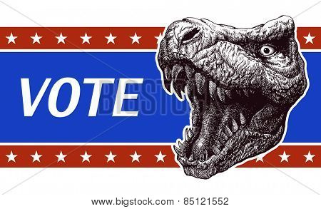 Vote - Presidential Election Poster with trex head. Vector illustration