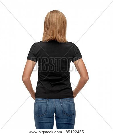 t-shirt design, advertisement and people concept - smiling woman in blank black t-shirt