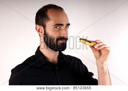 Man eating cake