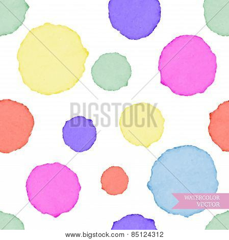 Watercolor circles seamless pattern. Colorful abstract background. Polka dots color