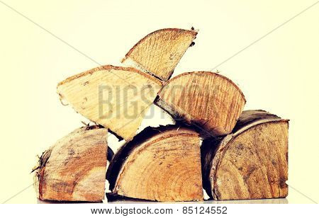 Stack of wood pieces. Isolated on white.