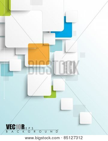 overlapping geometric white squares blank space for elements and texts eps10 vector