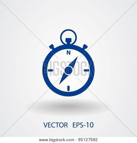 Flat long shadow Stopwatch icon, vector illustration