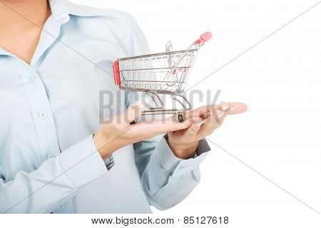Attractive young businesswoman with shopping cart.