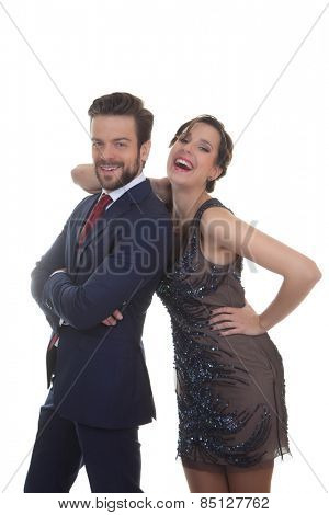 couple dressed up for party celebration wedding or event