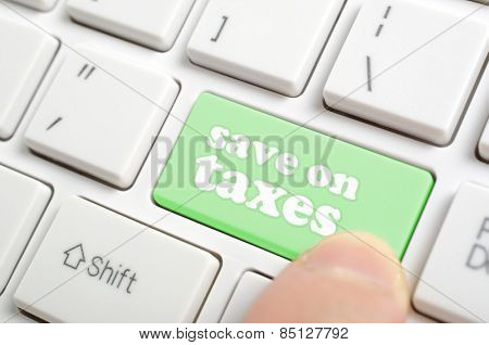 Pressing green save on taxes key on keyboard