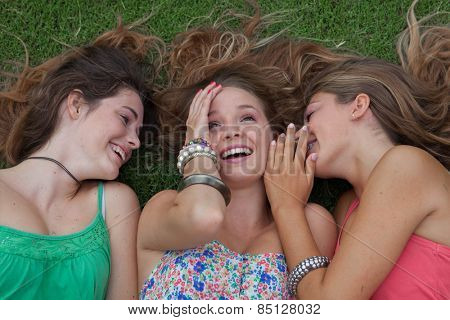 teen girls whispering and gossiping secrets in summer holidays