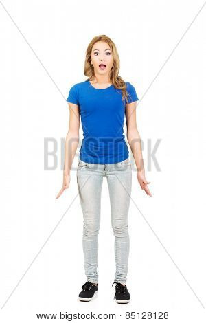 Young shocked woman with opened mouth.