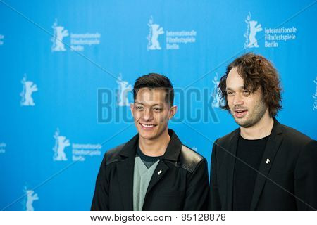 BERLIN, GERMANY - FEBRUARY 11: Actor Luis Alberti, Elmer Back attend the 'Eisenstein in Guanajuato' photocall. 65th Berlinale International Film Festival at Grand Hyatt Hotel on February 11, 2015