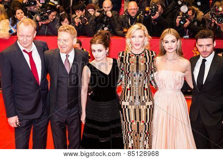 BERLIN, GERMANY - FEBRUARY 13, 2015: Richard Madden, Lily James, Cate Blanchett, Helena Bonham Carter, Kenneth Branagh and Stellan Skarsgard attend the 'Cinderella' premiere during the 65th Berlinale